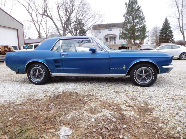 ford mustang coupe 1967 blue for sale 7f01s118358 rare 1967 ford mustang factory s code 390gt. Black Bedroom Furniture Sets. Home Design Ideas