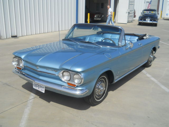 chevrolet corvair convertible 1963 light blue for sale. restored