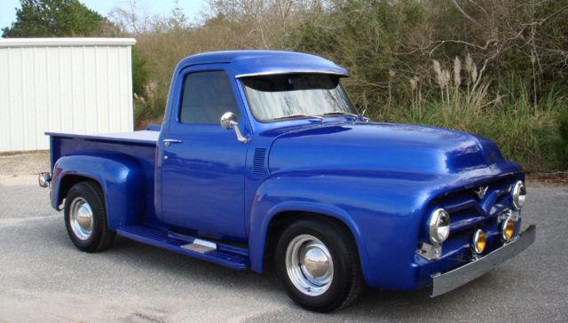 Ford F 100 Standard Cab Pickup 1955 Blue For Sale F10v5d17998 Restored Custom 1955 Ford F 100