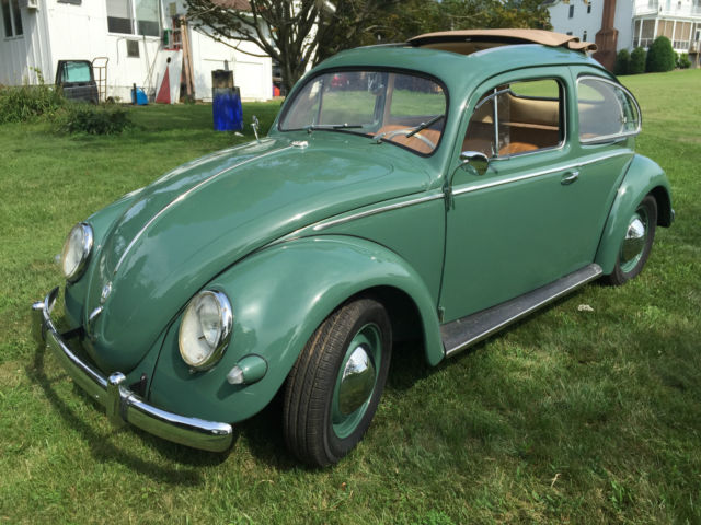 volkswagen beetle classic coupe 1957 green for sale 1377621 vw beetle classic 1957 oval ragtop. Black Bedroom Furniture Sets. Home Design Ideas
